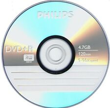 10 PHILIPS Logo 16X DVD+R DVDR Blank Media 4.7GB 120Min in Paper Sleeves