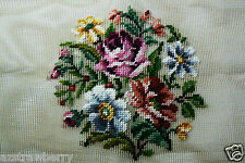 Vintage Bucilla Needle Point Tapestry Chair Canvas Floral Roses 23x23