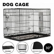 """30"""" Portable Dog Crate Pet Cage Collapsible Metal Kennel House 2-Door Black"""