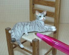 Miniature GREY Striped Resin Cat with DRAPING LEG for DOLLHOUSE 1/12