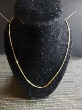 """18K Italian Gold Delicate 36mm Wide Loop & Curb Chain Necklace 36"""" L  4.28g"""