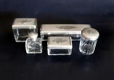 French Antique Napoleon III 5 Piece Sterling Silver & Crystal Vanity/Dresser/Des