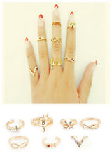 7Pcs Vogue Gold Midi Knuckle Top of Finger Rings Above Band Midi Rings Set