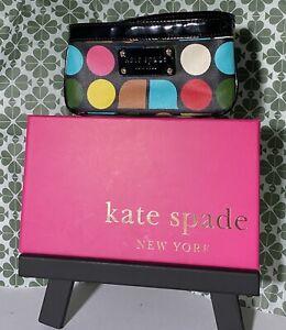 """Kate Spade Black Wristlet Polka Dot Colorful Patent Leather Trim 7"""" x 3.5"""""""