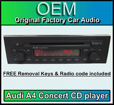 Audi A4 CD player, Audi Concert car stereo with radio code + keys BRAND NEW