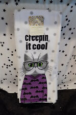 Halloween Cat Kitchen Towels Pair or 2 By Cynthia Rowley NEW*