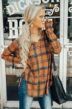Womens Plaid V neck Shirt Autumn Top Blouse Ladies Long Sleeve Casual T-Shirt US
