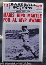 """""""Maris Nips Mantle For MVP"""" 2"""" X 3"""" Fridge Magnet. New York Yankees MLB 1960"""