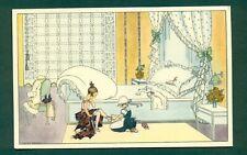 More details for art deco lady being dressed by mela k broman,vintage postcard