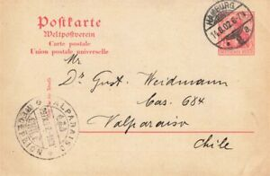 452862) DR GSK 10 Pf. Germania Hamburg 1902 nach Chile