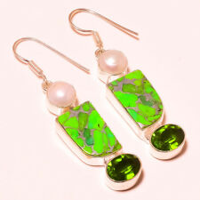 """GREEN COPPER TURUQUOISE, PERIDOT TOPAZ & PEARL 925 SILVER PLATED EARRING 2.3"""""""