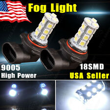 2X Xenon White 9005 HB3 Bulb 5050 SMD 18-LED Car Fog Light Lamp