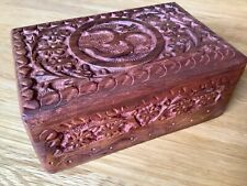 Hand Carved Wooden Box for Jewellery, Crystals. Sustainable Mango Wood OM Design
