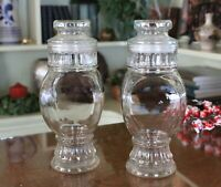 Rare Find Pair of Vintage Clear Glass Apothecary Jars with Lids - Set of 2
