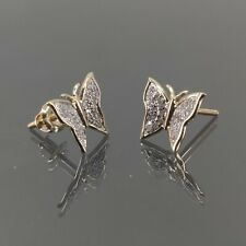 Natural Diamond 0.15 CT Butterfly Earring in 10K Yellow Gold
