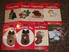 8-Vintage Hallmark Christmas Pin NIP 1985 Lapel Lot Rodney Rhonda Angel Mouse