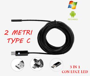 TELECAMERA ENDOSCOPICA USB ISPEZIONE ENDOSCOPIO PER  ANDROID 6 LED TYPE C 2 M