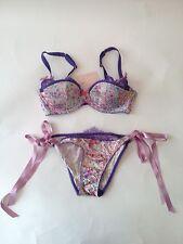 Agent Provocateur Lyla Tie Side Purple Panties Bra Size 3 32D S/M