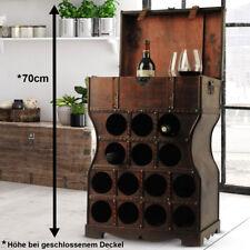 Wein Regal 14x Flaschen Fächer Holz Schrank Kolonial Stil Truhe Getränke Ablage