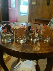 4 Otagiri Vintage Seashells Double Old Fashioned Drinking Glasses Gold Painted
