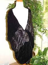 Elegant Mina Mann Black Velvet and Silk Wrap Shawl NWOT