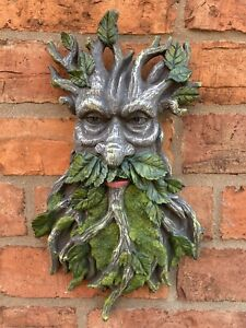 RESIN GARDEN GREEN MAN LEAF FACE / BRANCHES WALL TREE PLAQUE HANGING PAGAN🌿