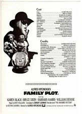 """ORIGINAL CINEMA PRESS SHEET - FOR""""  FAMILY PLOT """"  - KAREN BLACK - BRUCE DERN"""