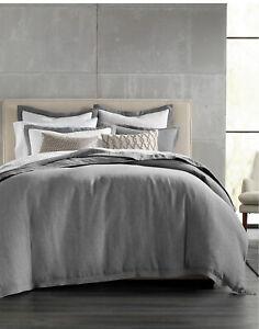 New Hotel Collection Grey 100% Linen Full/Queen Duvet Cover