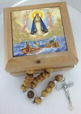 Rosary Box - Bethlehem Olive Wood (Caridad del Cobre Caja para Rosario de madera