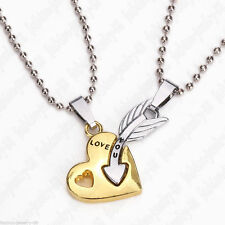 2pc Heart and Arrow Couple Necklace Set His Hers Boyfriend Girlfriend LOVE YOU