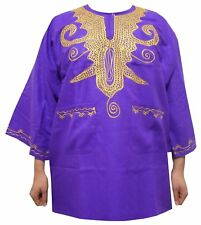 Mens Dashiki Shirt African Rayon Brocade Top Women Blouse Purple Gold One Size