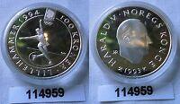 100 Kronen Silber Münze Norwegen Olympiade 1994 Eiskunstlauf 1993 (114959)