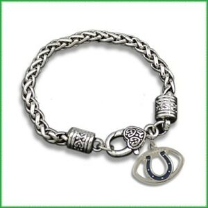 Indianapolis Colts Horseshoe Football Dangle Fashion Lobster Clasp Bracelet