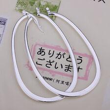 Wholesale 925Sterling Silver Jewelry Woman Large Flat U Shape Hoop Earrings E001
