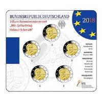 Deutschland 5 x 2 Euro 2018 - Helmut Schmidt - Satz ST in Blisterkarte