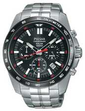 Pulsar Mens Solar Stainless Steel Black Dial Chrono PZ5005X1 Watch - 18% OFF!