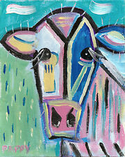 COW PAINTING Color Outsider Folk SELF TAUGHT Pappy-B ORIGINAL Low Brow RAW