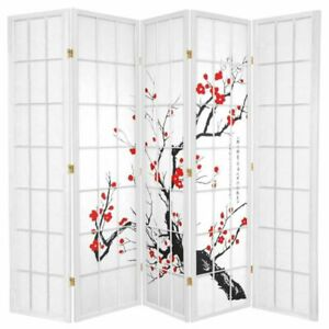 Cherry Blossom Room Divider Screen White 5 Panel