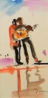"""JOSE TRUJILLO - ORIGINAL Sm Watercolor Painting 3x6"""" Music Musicians Guitar Art"""