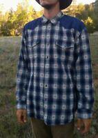 Vtg TERRITORY AHEAD Men's XL Southwest Blanket Weave Shirt, Blue Western Aztec