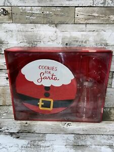 St. Nicholas Square Cookies For Santa Plate, Milk Bottle and Straw Set - NEW
