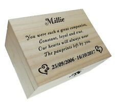 Memorial Box Dog Cat Ashes Memory Casket Wooden Keepsake Case Personalised Gift