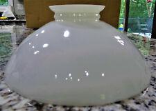 """10"""" White Milk Glass Kerosene Oil Lamp Shade Saucer Vtg Antique"""