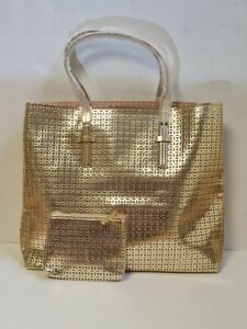 ESTEE LAUDER  GOLD COLORED COSMETIC TRAVEL BAG WITH MATCHING PURSE