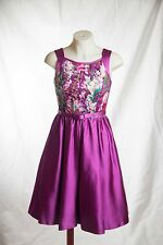 Theia Orchid Floral Belted A-line Satin Magenta Dress Size 2