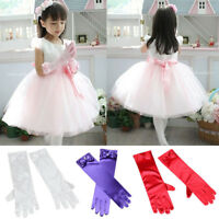 Lovely Kids Girls Princess Wedding Formal Evening Party Satin Dress Up Gloves.