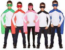 Bambini Rosso Blu Nero Verde Rosa Super Eroe Mantella Maschera Costume Vestito
