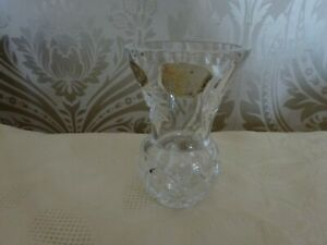 Vintage retro Bohemia Lead Crystal Glass Thistle Posy Vase 10cm tall