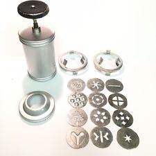 Vintage 30s Mirro Cookie Press 12 Plates Aluminum Finest Aluminum Patent 2055868
