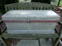 Antique/Vintage Carpenters Tool Box Chest Hand Made Primitive Folk Art Grey/Red
